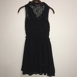 Small Black Lace Collared Button Down Dress